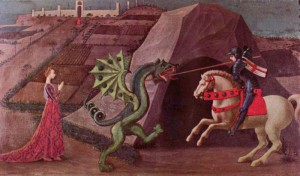 Paolo Uccello's depiction of Saint George and the dragon from 1470